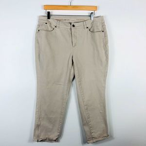 Talbots Heritage Crop Zip Leg Jeans Tan Beige